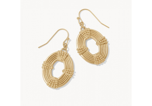 Spartina Oval Medallion Earrings Gold