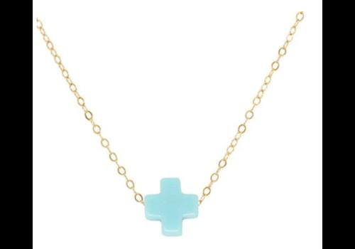 EG Signature Cross Necklace Black 14