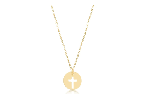"""EN 16"""" Necklace Gold Blessed Gold Charm"""