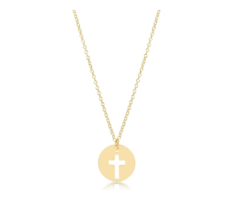 "EN 16"" Necklace Gold Blessed Gold Charm"