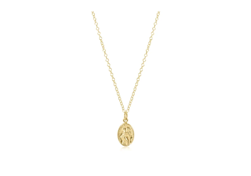 """EN 16"""" Necklace Gold - Protection Charm Small"""