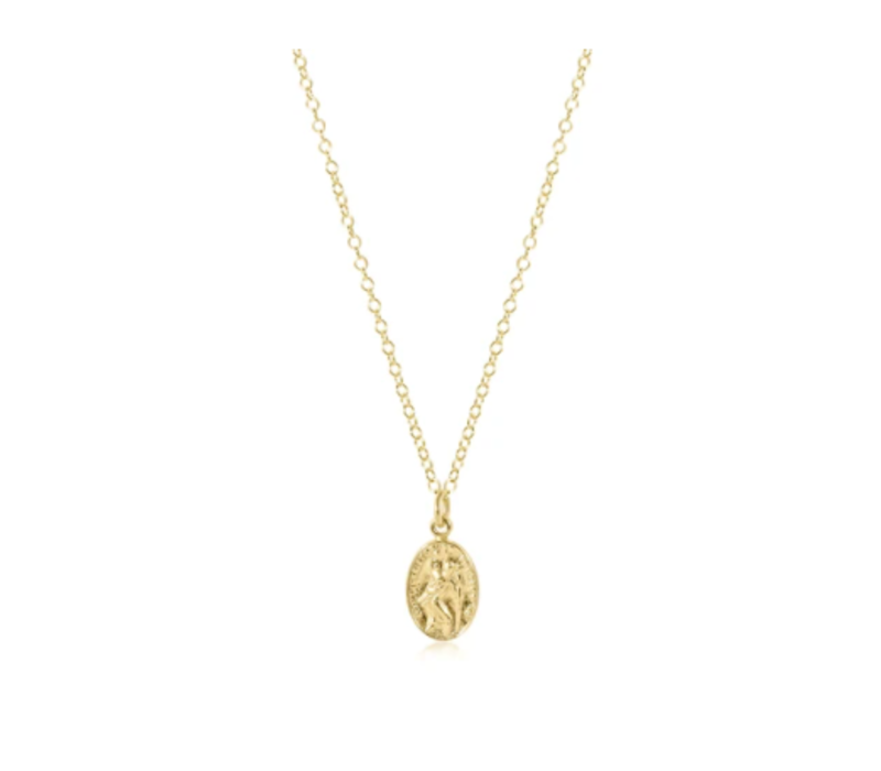 "EN 16"" Necklace Gold - Protection Charm Small"