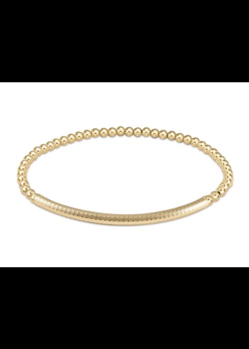E Newton EN Bliss Bar Textured 3mm Bead Bracelet Gold
