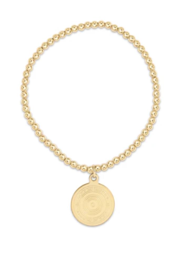 EN Classic Gold 3mm Bead Bracelet - Athena Charm