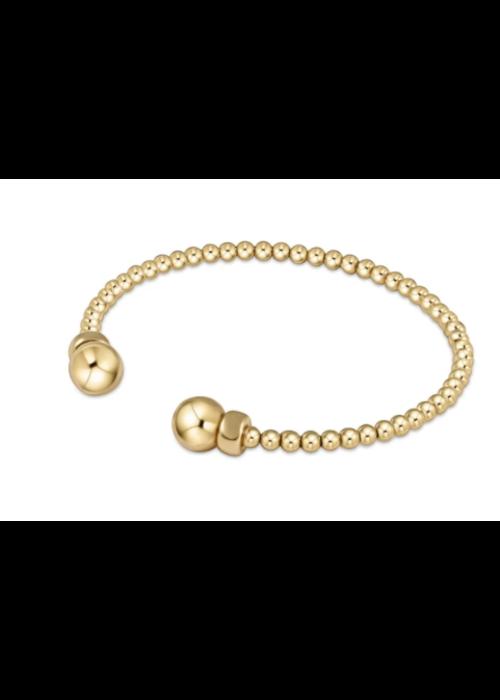 E Newton EN Classic Gold 3mm Bead Cuff - Gold