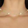 "EN 15"" Choker Signature Cross Gold Pattern 2mm Bead Off-White"