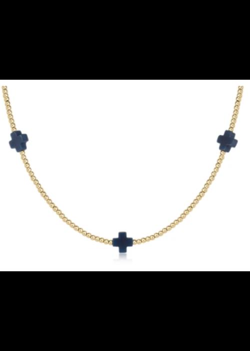 "E Newton EN 15"" Choker Signature Cross Gold Pattern 2mm Bead Charcoal"
