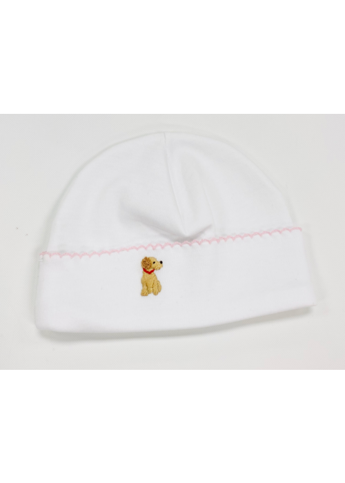 Lyda Baby LB Hat - Cute Pets Emb White Girl NB