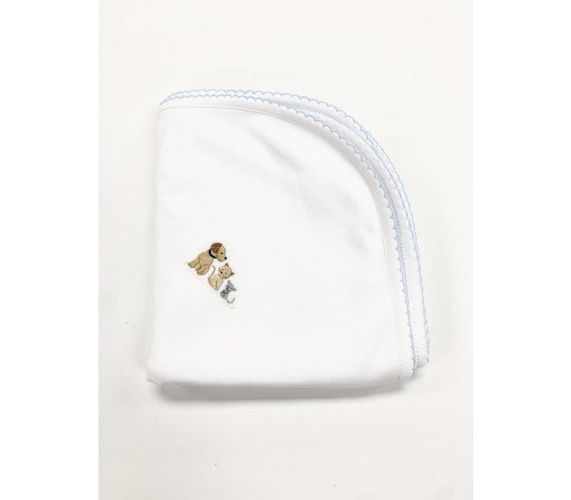 LB Blanket - Cute Pets Emb Boy Wht