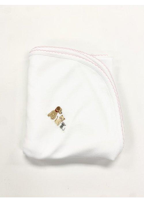 Lyda Baby LB Blanket - Cute Pets Emb Girl Wht