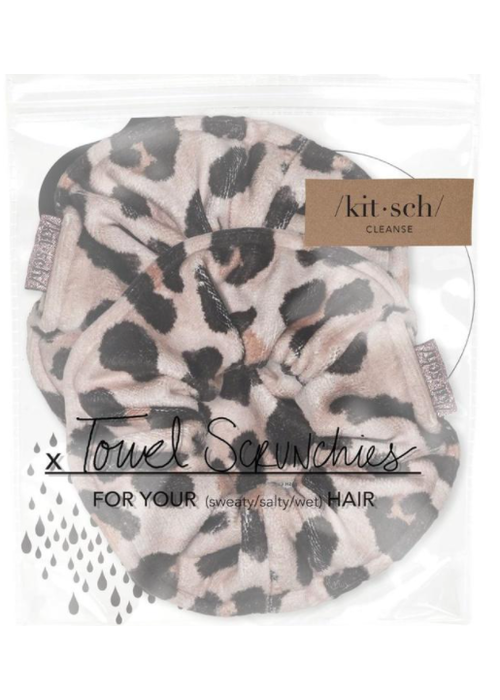 Kit Sch Kitsch Microfiber Towel Scrunchies - Leopard