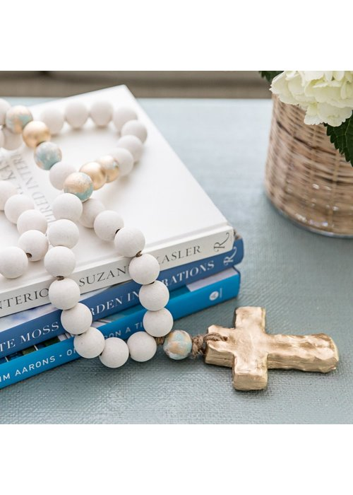 Sercy Studio Sercy Bailey Large all White and Gold with Turquoise Beads