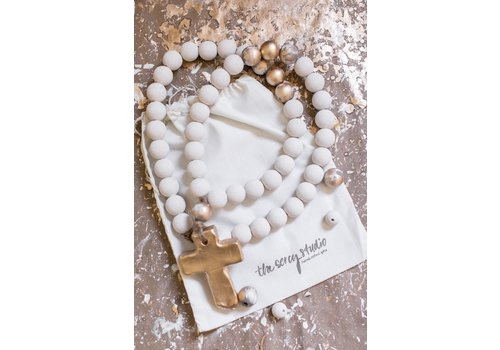 """Sercy Studio Sercy Sophia Gray and Gold Blessing Beads 30"""""""
