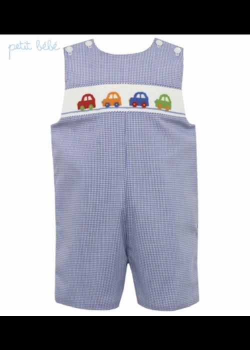 Petit Bebe Petit Bebe Cars Jon Jon - Lt Blue Stripe Knit