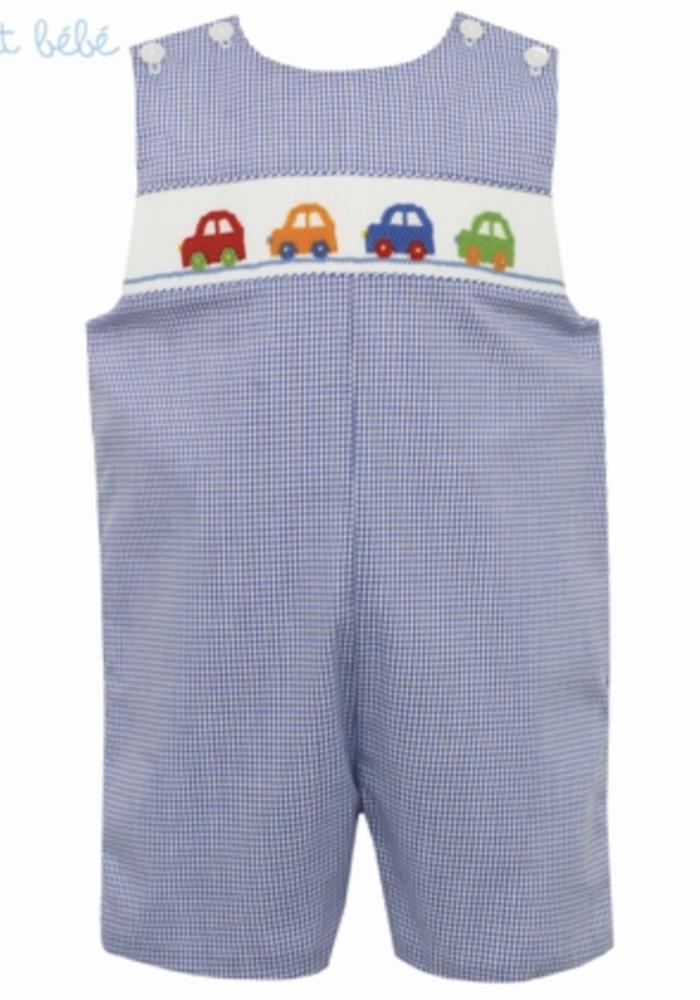 Petit Bebe Cars Jon Jon - Lt Blue Stripe Knit