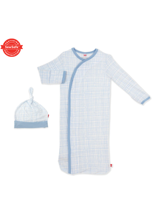 Magnetic Baby MAG Greenwich Plaid Modal Magnetic Gown/Hat Set