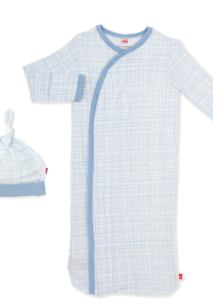 MAG Greenwich Plaid Modal Magnetic Gown/Hat Set