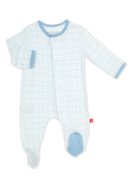 Magnetic Baby MAG Greenwich Plaid Modal Magnetic Footie