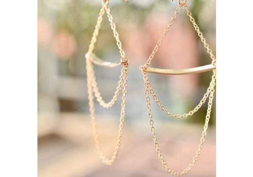 Summer Bucket SB Bar and Chain Earrings - 14kt Gold Fill