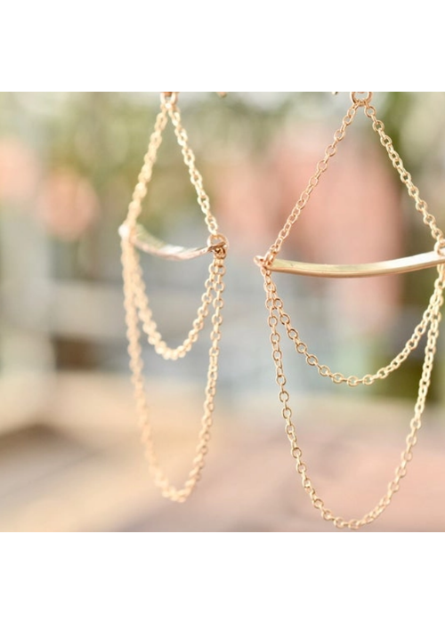 SB Bar and Chain Earrings - 14kt Gold Fill
