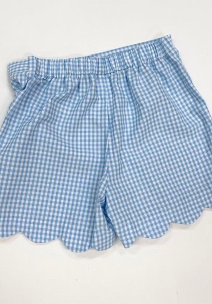 Anavini Girls Shorts Blue Gingham Scallop