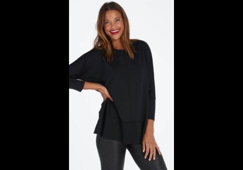 Spanx SPX Perfect Length Top Dolman Sweatshirt in Very Black
