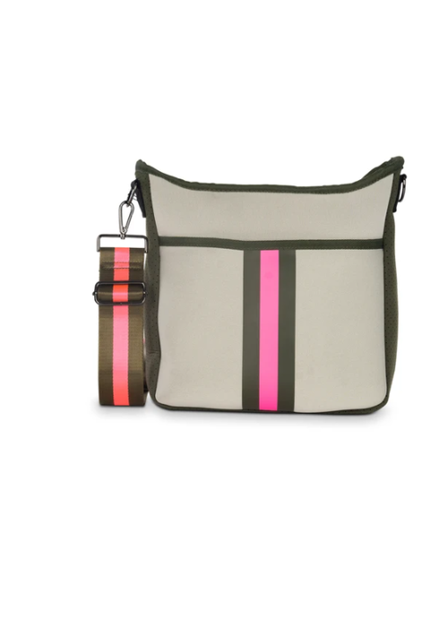 Haute Shore HS Blake Crossbody - Swank Putty w/Army Hot Pink Stripe