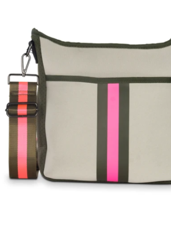 HS Blake Crossbody - Swank Putty w/Army Hot Pink Stripe