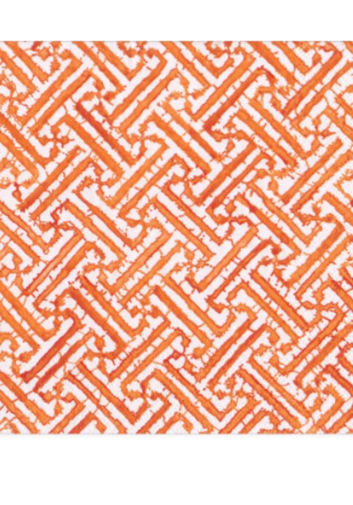 Caspari Fretwork Orange Napkin Cocktail