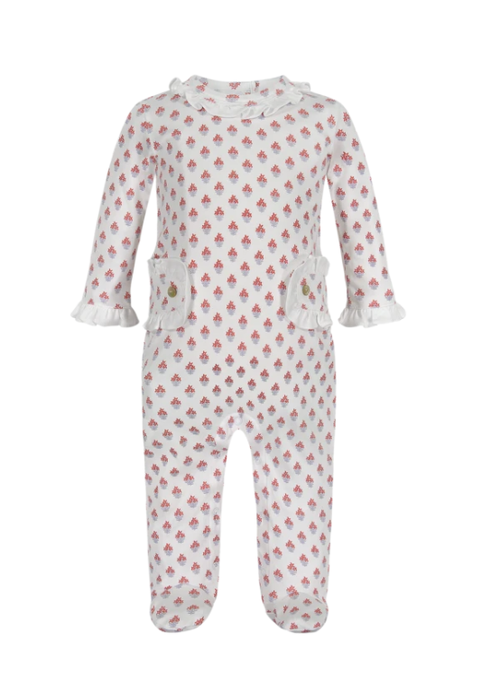 Lila and Hayes LH Lucy Girls Footed Romper in Nantucket Blooms