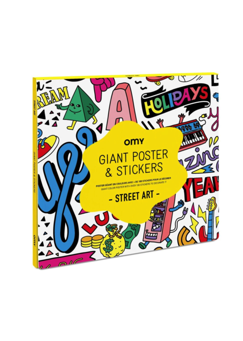 OMY Coloring Poster w/Stickers- Street Art