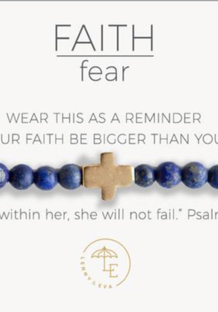Faith Over Fear Stretch Bracelet, Lapis Lazuli, Gold