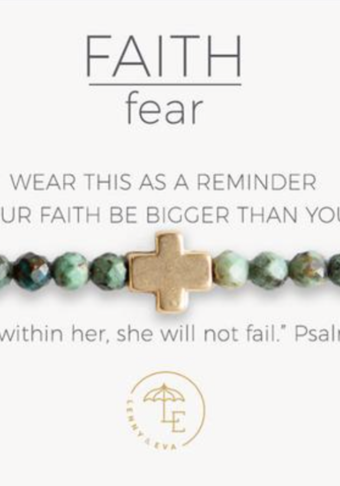 Faith Over Fear Stretch Bracelet, African Turquoise, Gold