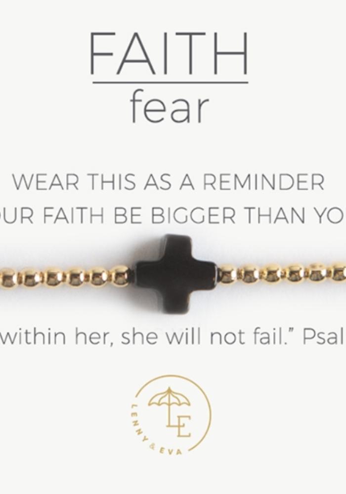 Faith Over Fear Stretch Bracelet, Gold/Black