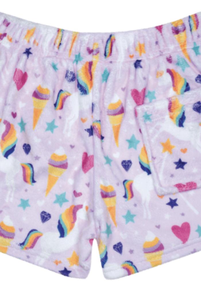 IS Magical Unicorn Plush Shorts w/back pocket