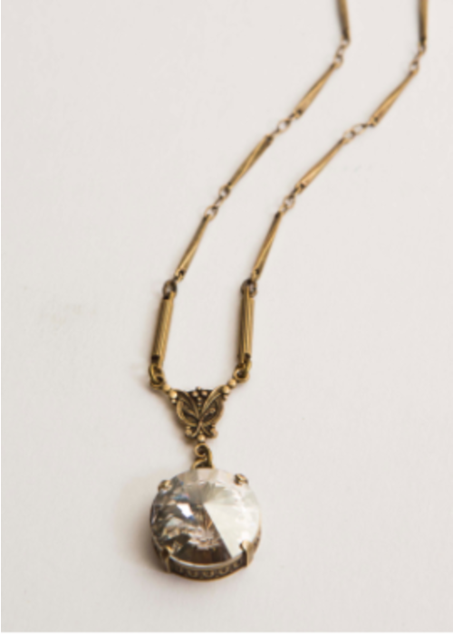 "Mark Edge ME Swarovski Crystal Brass Ox Chain 16-18"""