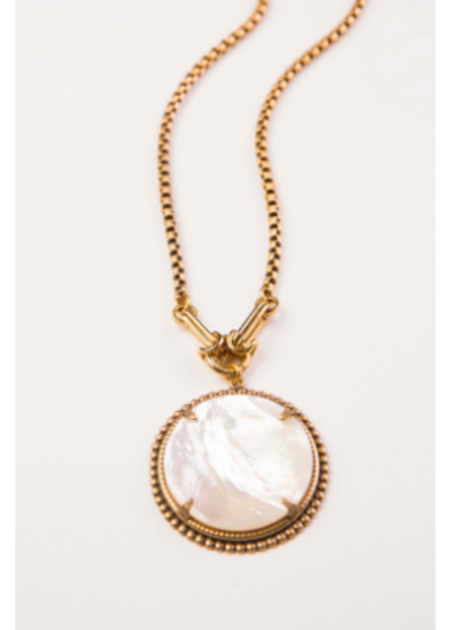 """Mark Edge ME MOP Cabochon Plated Gold Bronze Chain 17-18"""""""