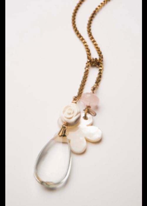 "Mark Edge ME Chandelier Crystal w Rose Quartz Shell/MOP Flower 48"" Necklace"