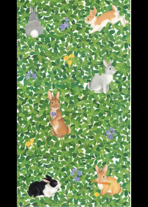 Caspari Guest Towel Bunnies & Boxwood