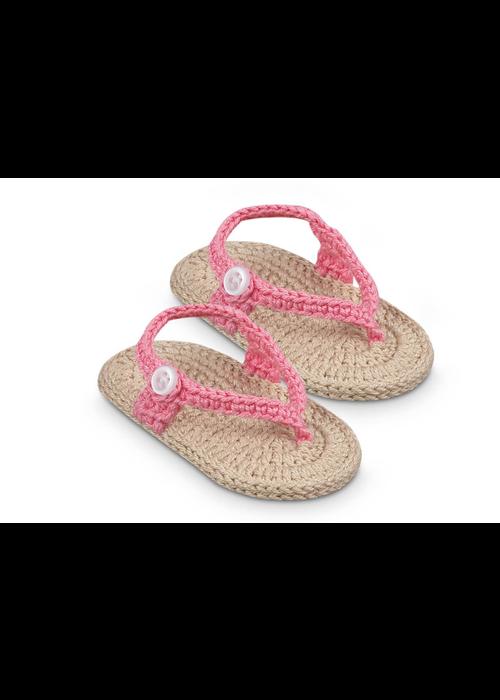 Jefferies Socks JEF My First Flip Flops Crocheted Bootie - Pink