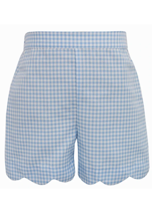 Anavini Anavini Girls Shorts Blue Gingham Scallop