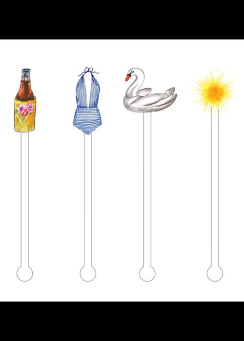Summertime Funtime Acrylic Stir Sticks Reusable