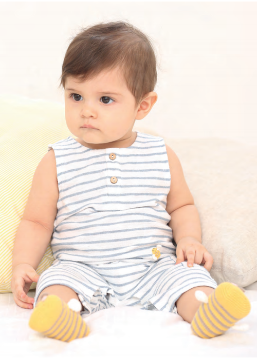 Albetta Albetta Crochet Mini Bee Blue Stripe Romper