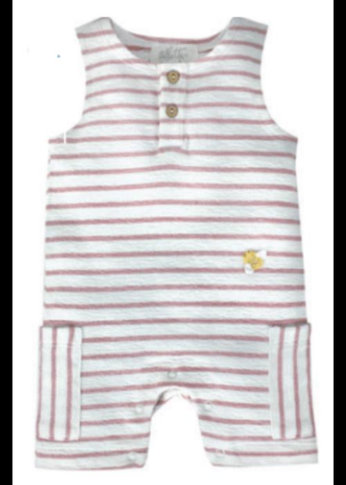 Albetta Albetta Crochet Mini Bee Pink Stripe Romper