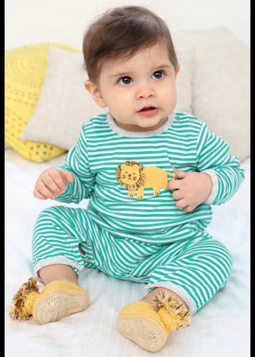 Albetta Albetta Crochet Lion Green Stripe Babygrow