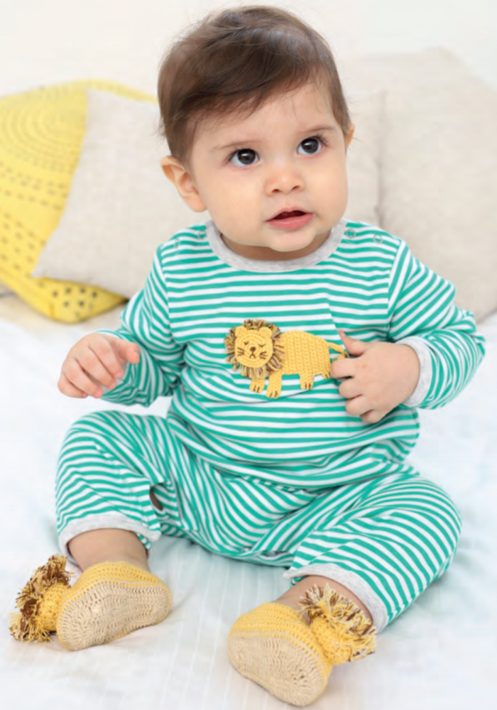 Albetta Crochet Lion Green Stripe Babygrow