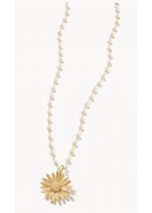 "Spartina Daisy Beaded Necklace 16"" White"