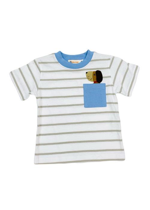 Baby Luigi BL Puppy Head Striped Tshirt w pocket