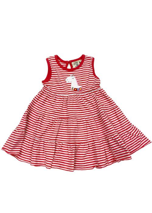 Baby Luigi Sleeveless Tiered Dress Coral/Wht Str w/Unicorn