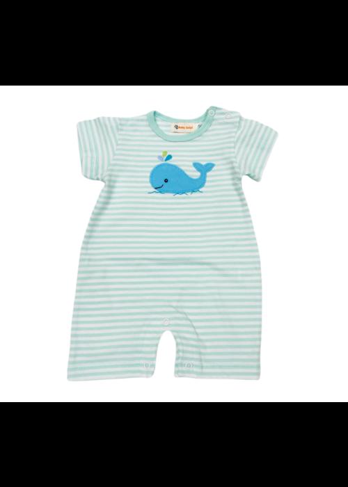 Baby Luigi Str Short Slv Boy Romper Jade/Wht w/Whale
